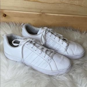 Adidas Superstar Solid White Lace Up Sneakers 10